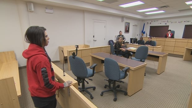 Danielle MacPherson during a recent appearance in opioid treatment court in Dartmouth, N.S.