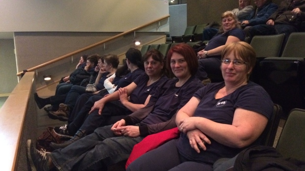 Several Sudbury Hospital Services employees wait at city council on Tuesday, Jan. 10.