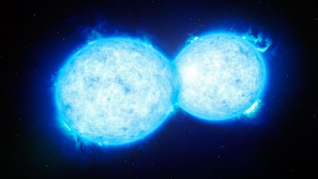 This artist's impression shows VFTS 352 — the hottest and most massive double star system to date where the two components are in contact and sharing material. The two stars in this extreme system lie about 160,000 light-years from Earth in the Large Magellanic Cloud. This intriguing system could be heading for a dramatic end, either with the formation of a single giant star or as a future binary black hole.