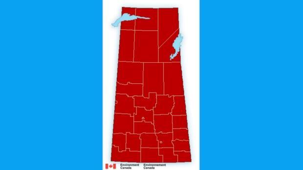 Cold weather map in Saskatchewan