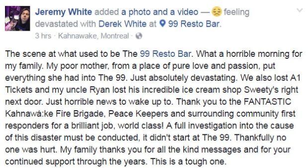 Jeremy White post Facebook