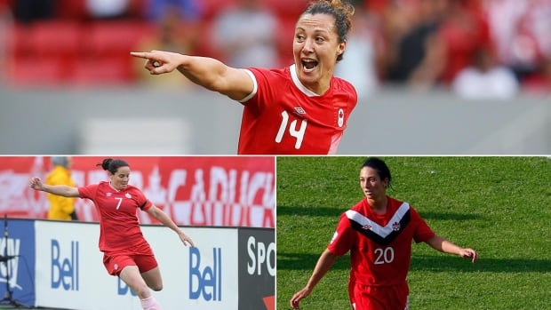 Clockwise from top: Canada's Melissa Tancredi, Marie-Ève Nault, and Rhian Wilkinson announced their retirements from the national team on Friday.