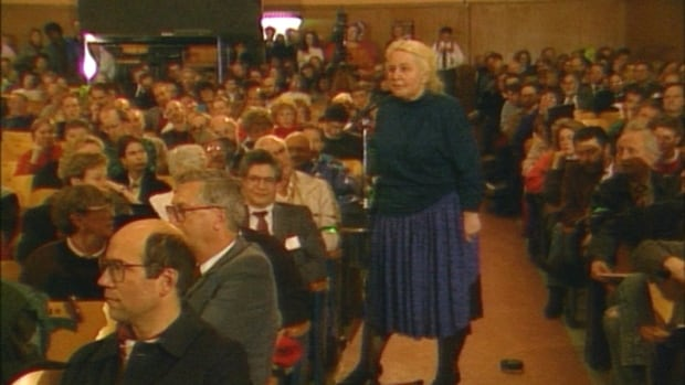 A woman voices her dismay about a development proposal in Kitsilano in 1992.