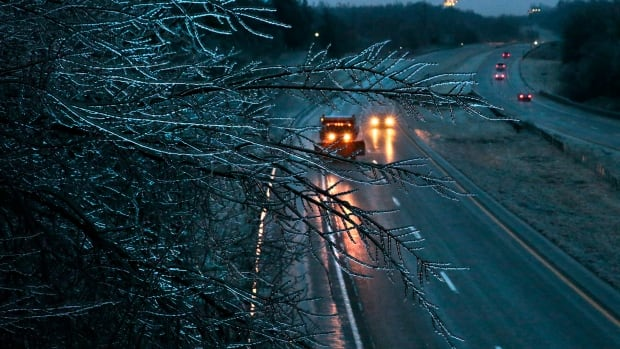 Icy roads were linked to several collisions in the central U.S., including a fiery crash involving tractor-trailers and a deadly crash southeast of Kansas City.