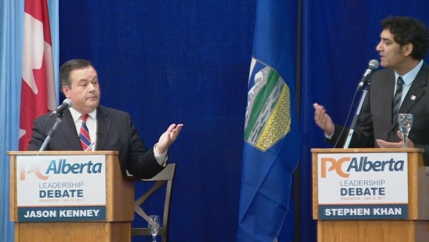Candidates Jason Kenney and Stephen Khan frequently sparred during Sunday's PC leadership debate in Edmonton.