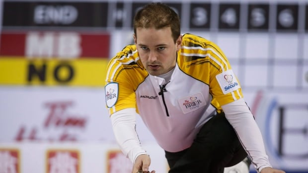 Manitoba's Reid Carruthers, seen in this file photo from the 2015 Brier, delivered a double takeout to help Team North America defeat Team World at the 2017 Continental Cup on Sunday.