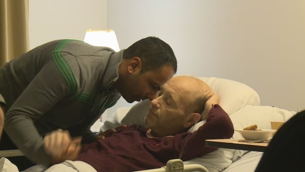Dr. Naheed Dosani provides palliative care to the homeless in Toronto. Here, he comforts one of his dying patients, Andy Thomas.