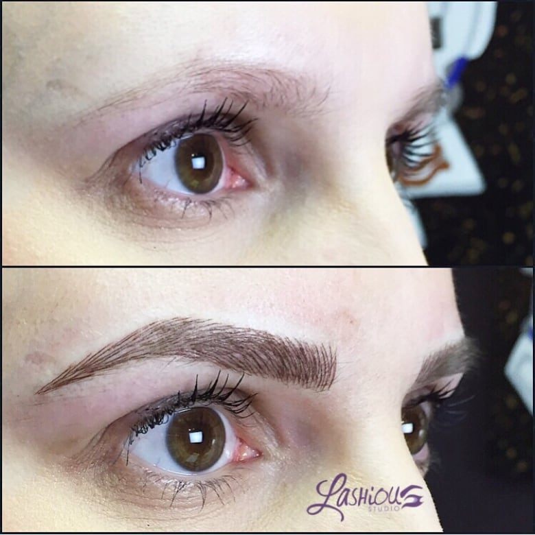16f4a8532 A before and after of eyebrow tattoos using a technique called  microblading. (Submitted by Leah Crockford)