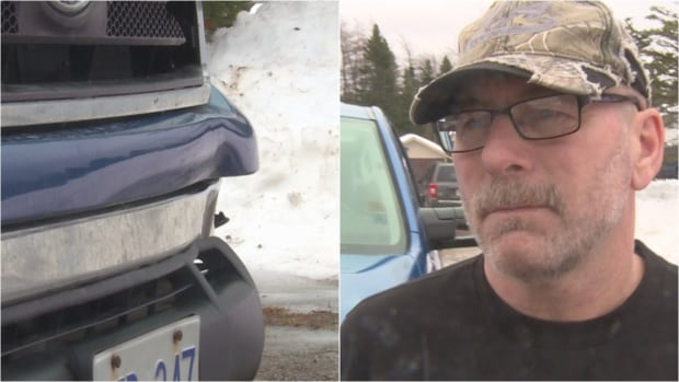 Paul Denty says an ice chunk that slid off a transport truck caused thousands of dollars in damage to his pickup.