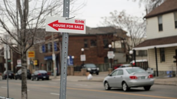 A realtor's sign points the way to a house for sale on Ferrie Street in Hamilton's North End, where home prices have been rising rapidly for several years.