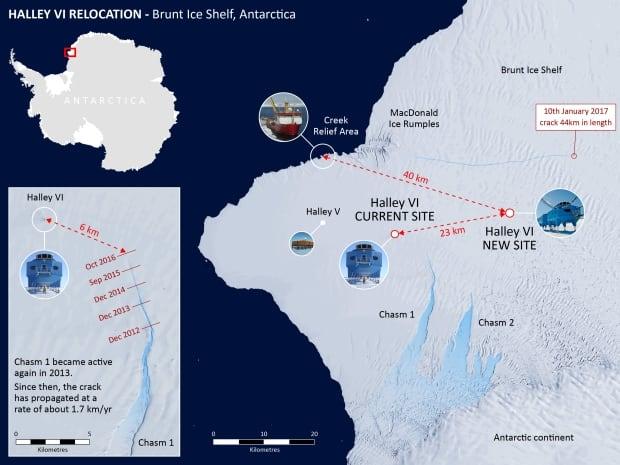 Antarctic relocation map