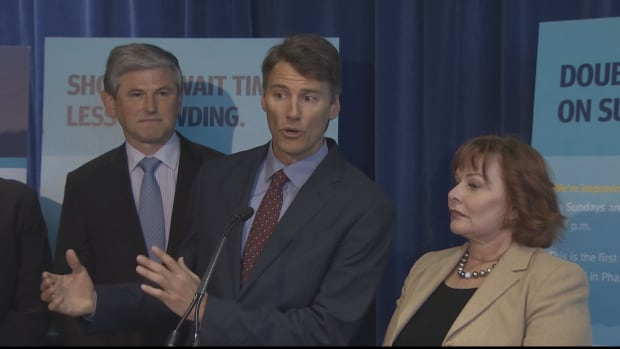 Consultation will begin in late January for two new train lines in the cities represented by Vancouver mayor Gregor Robertson, centre, and Surrey mayor Linda Hepner, right.