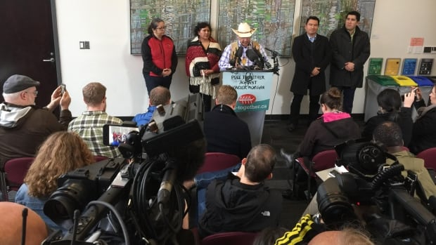 Tsleil-Waututh, Squamish and Coldwater Indian First Nations hold a joint news conference in Vancouver to announce they're taking legal action against the federal government over its approval of the Trans Mountain pipeline expansion project.