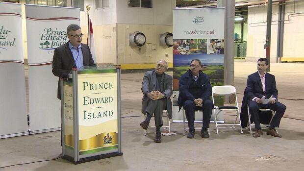 Heath MacDonald, P.E.I. Minister of Economic Development and Tourism, announces details of the $2 million McCain Foods Adjustment Fund.