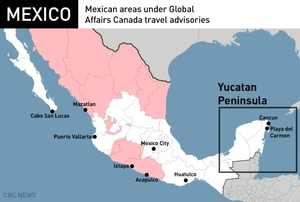 Is mexico getting more dangerous for canadian tourists world mexican areas under canadian travel advisories in pink publicscrutiny Choice Image