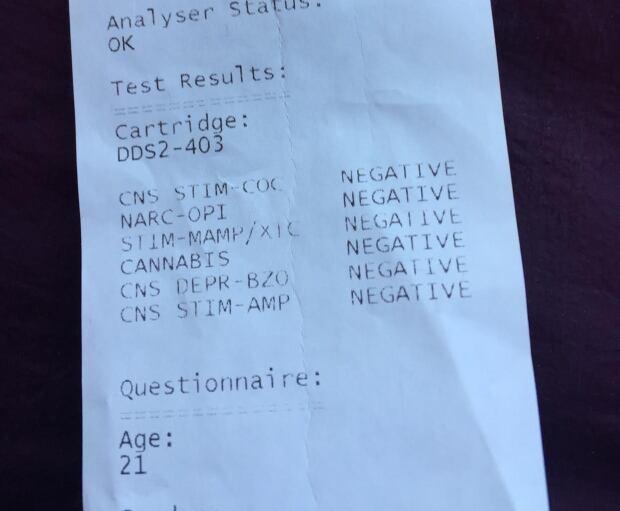 printout of an Alere drug test
