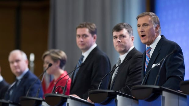 Conservative leadership candidates from left to right: Erin O'Toole, Kellie Leitch, Andrew Scheer, Pierre Lemieux and Maxime Bernier.