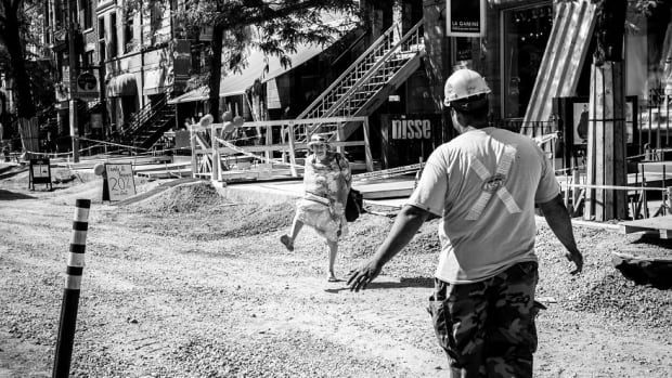 Theimer's photo series highlighting Montreal construction have been published in an online blog.
