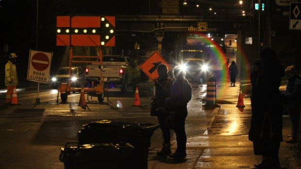City crews divert northbound traffic on Royal York Road at Judson Street as they deal with a broken water main.