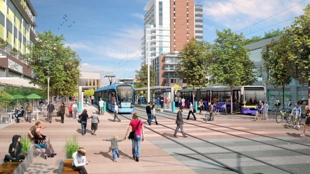 An artist's rendering of what the Surrey light rail transit line could look like.