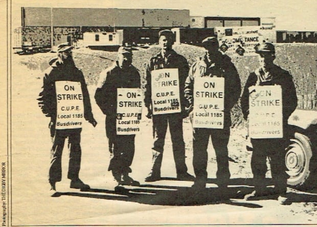 Digby bus drivers picket at Weymouth Consolidated School about 28 months into the dispute.