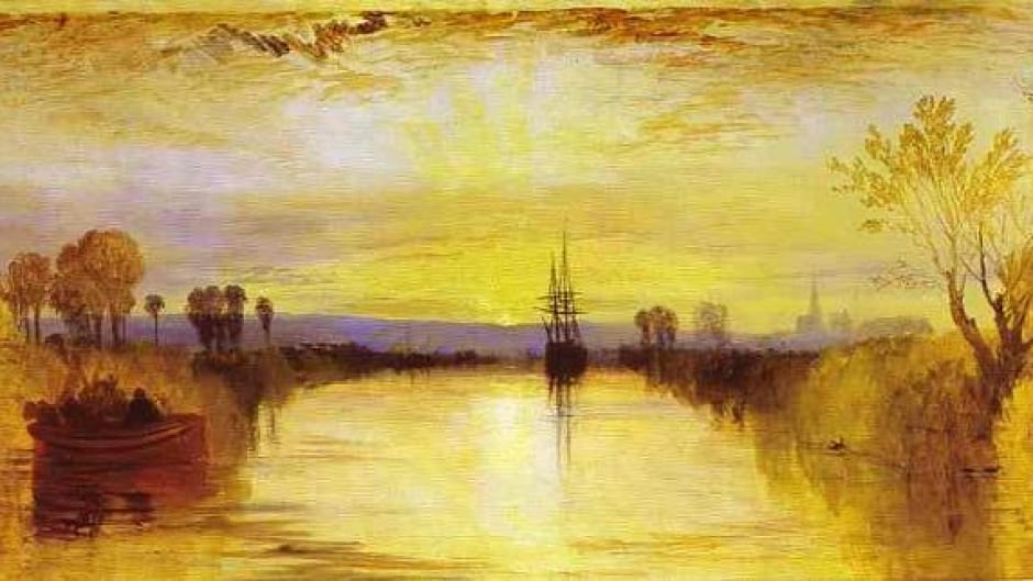 Chichester Canal, by JMW Turner depicts the unusual sunsets in the aftermath of the Tambora volcano.