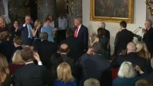 Trump leads standing ovation for Hillary Clinton at inaugural lunch