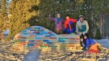 Antonio Benedicto and family build rainbow igloo Saskatoon