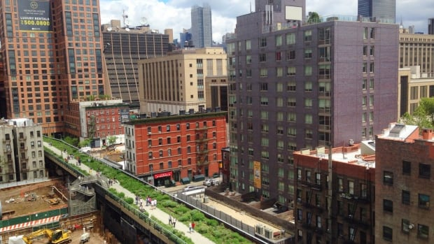 The New York High Line project began in the early 2000's, and now stretches 2.33 km.