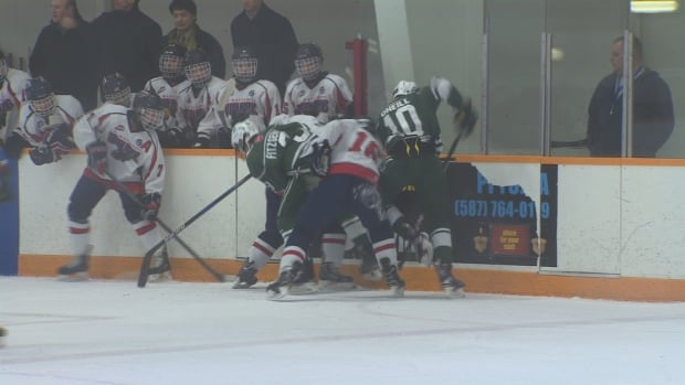 The Delta Wild facing off against the Lethbridge Golden Hawks. Both teams are competing at the John Reid Memorial hockey tournament this weekend in St. Albert.