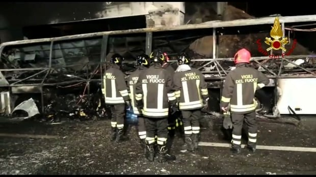 Fiery bus crash kills 16 in Italy, many Hungarian students