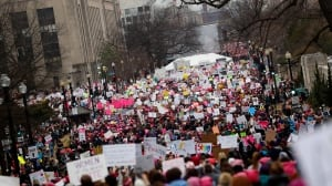 'Jam-packed good-natured chaos': Women's March clogs Washington streets