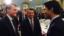 Mayor Charlie Clark, Trudeau, Fougere at Big City Mayor's meeting