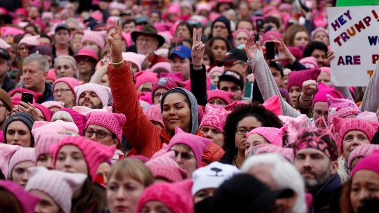 c16981119236a A sea of people wearing pink hats join the Women s March on Washington in  Washington