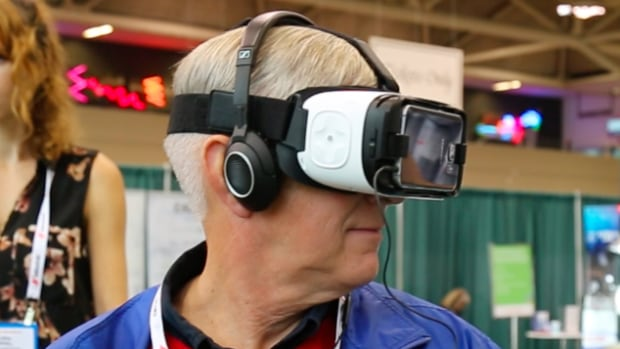 OpenLab, based out of Toronto General Hospital, is researching how virtual reality can be used to improve the lives of senior patients. This gentlemen tested it out a few weeks ago at November's HealthAchieve conference in Toronto.