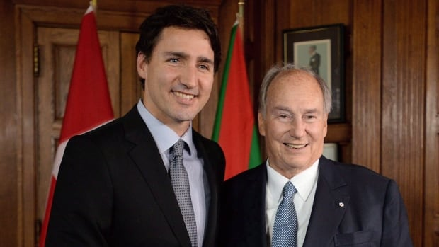 Prime Minister Justin Trudeau, left, vacationed on a private island owned by the Aga Khan, right, which cost taxpayers more than $133,000.