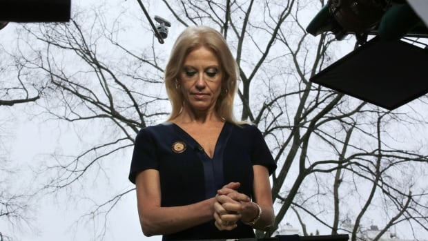 Kellyanne Conway, counselor to U.S. president Donald Trump, is shown preparing for the Sunday morning political talk show rounds, during which she coined the term 'alternative facts.'