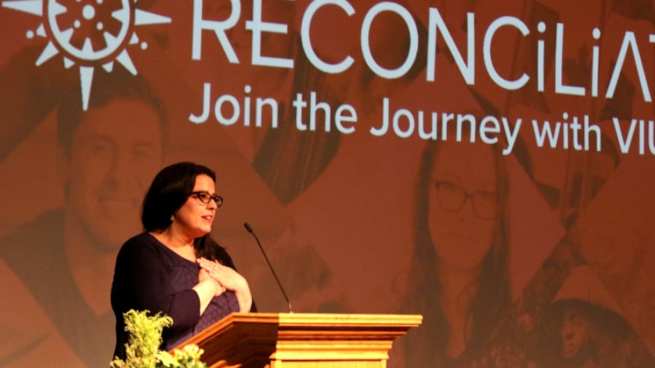 Dr. Tracey Lindberg explores reconciliation in a lecture at Vancouver Island University's Indigenous Speaker Series.