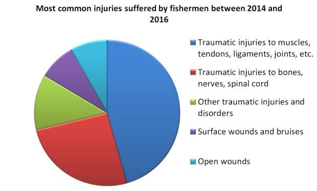 Pie chart of fisherman injuries