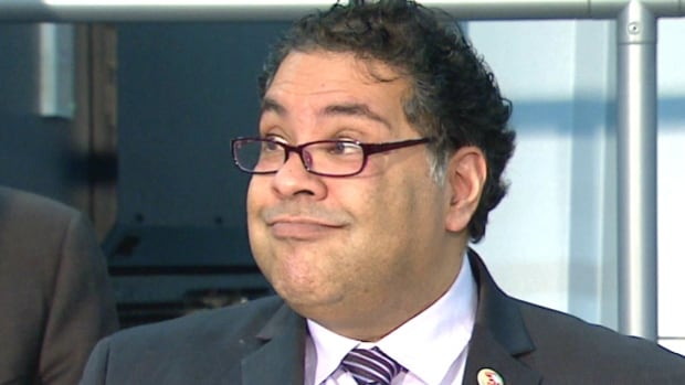 Mayor Naheed Nenshi speaks to reporters about the 5% cap on non-residential property tax increases in 2017.
