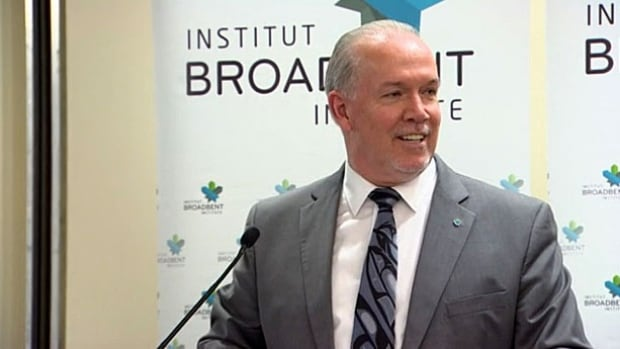 B.C. NDP Leader John Horgan spoke about climate change at a speakers' series sponsored by the Broadbent Institute.