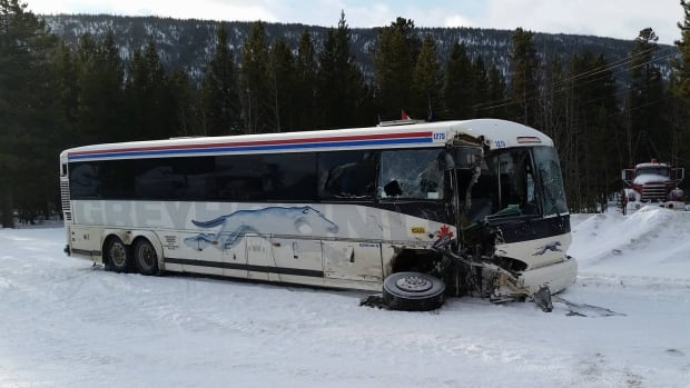 The Greyhound bus involved in the accident near the Rancheria Lodge, Yukon, on Jan. 22, 2017, was written off after the crash, but there were no injuries to the driver or six passengers.