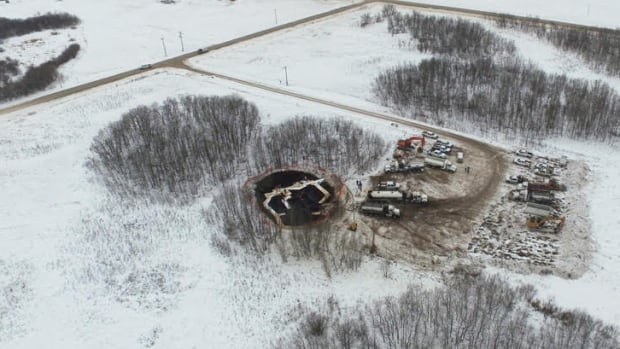 An aerial view shows the oil spill near Stoughton, Sask., on Jan. 23.