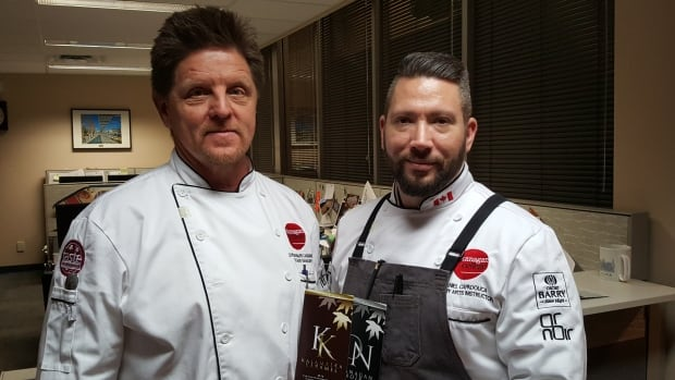 Chef Bernard Casavant, left, and Chef Danny Capadouca of Okanagan College show off samples of their new chocolates.