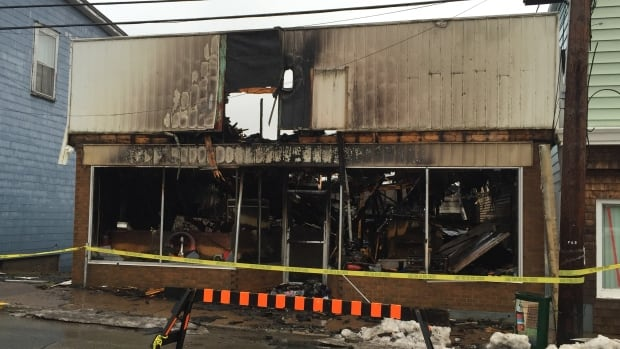 The fire at Vernon d'Eon Fishing Supplies Ltd. broke out around 5 a.m. on Wednesday.