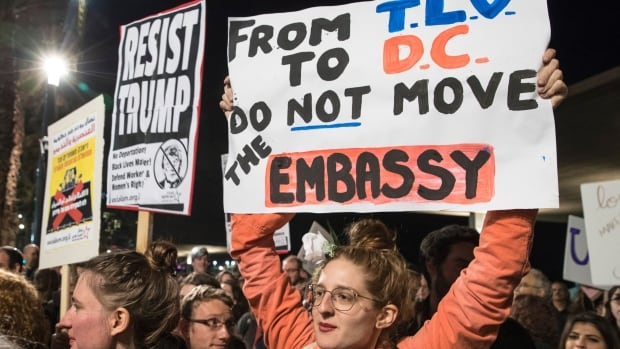In January, demonstrators in Tel Aviv protested against U.S. President Donald Trump's promise to move the American embassy from Tel Aviv to Jerusalem.