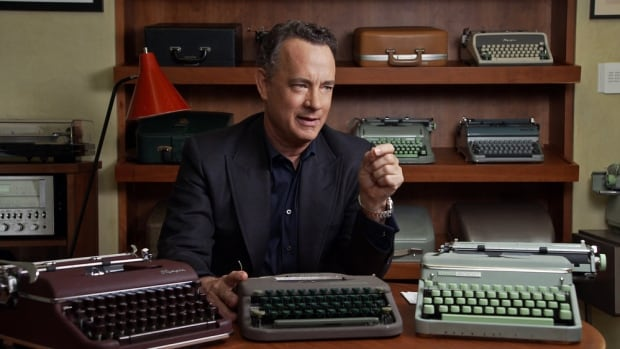 Tom Hanks appears with several of his typewriters in a still from California Typewriter