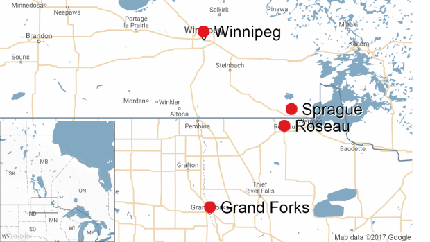 Sprague, Grand Forks, Roseau, Winnipeg