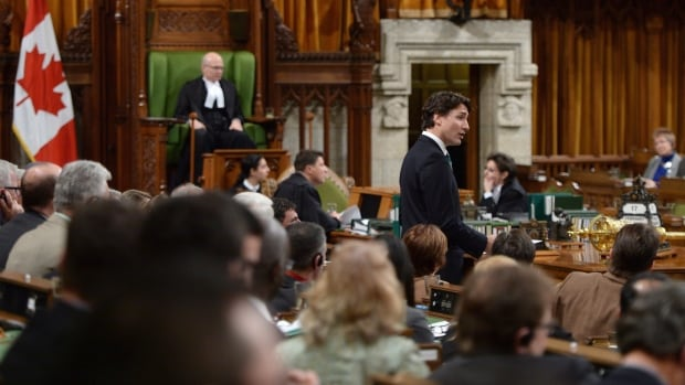 Speaker Geoff Regan looks on as Prime Minister Justin Trudeau speaks in the House of Commons.
