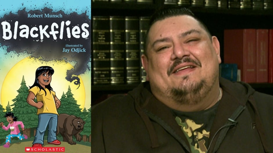 Indigenous artist Jay Odjick illustrated Robert Munsch's new book, Blackflies.